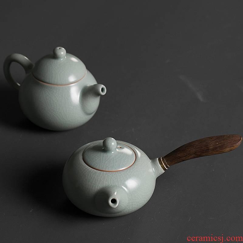 Qiao mu PMZ your up little teapot single pot of dehua porcelain household side put the pot of kung fu tea set to filter the azure ice crack