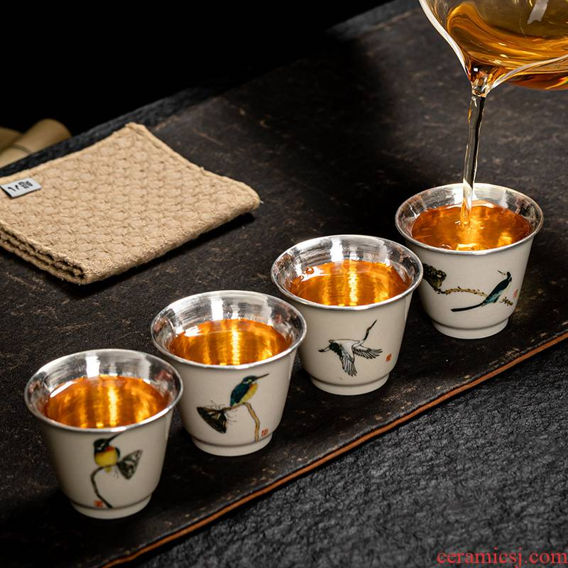 High - end hand - made tea cup, master cup single CPU female male individual special porcelain silvering glass cups sample tea cup