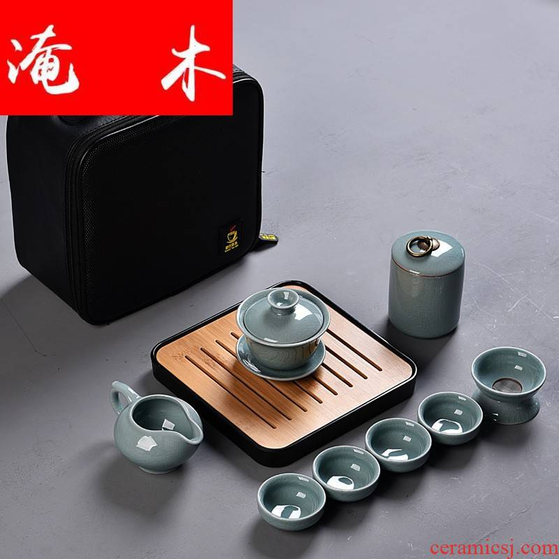 Flooded your up of wood tea set suit portable bag home only three tureen ceramic cups kung fu tea set dry tea tray