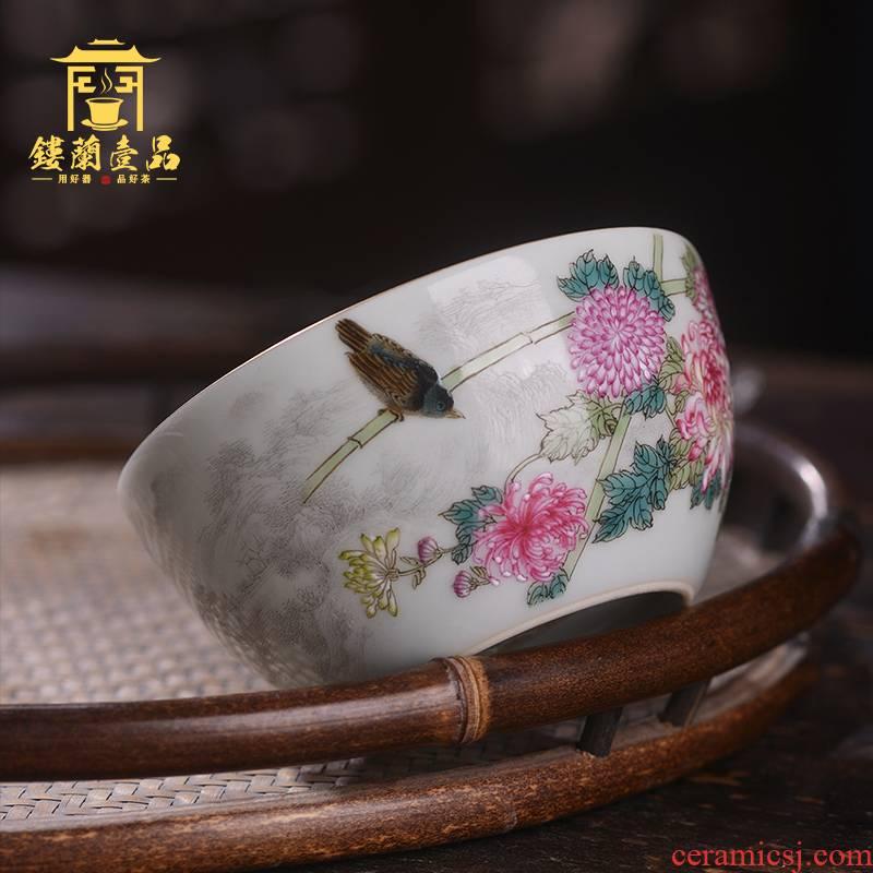 Jingdezhen ceramic all hand - made pastel qiu ju jia yan fragrance - smelling CPU master single CPU personal hand tea cups