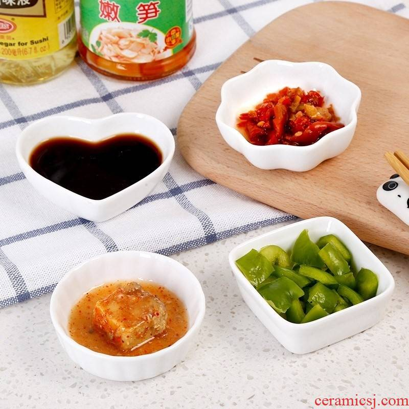 Small white porcelain dish condiment home taste butterfly ceramic plate plate deep dish flavor students hotpot restaurant sauce package mail