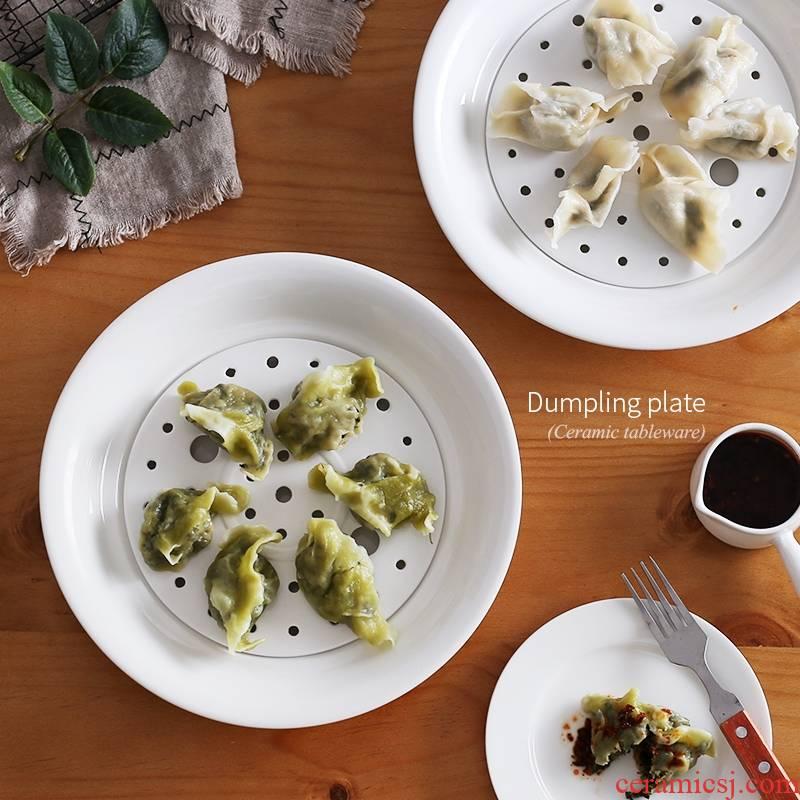 Double ceramic dish dish dish of qiao mu ZCJ circular drop dumplings tray steamed dish 10 inches dumpling dish