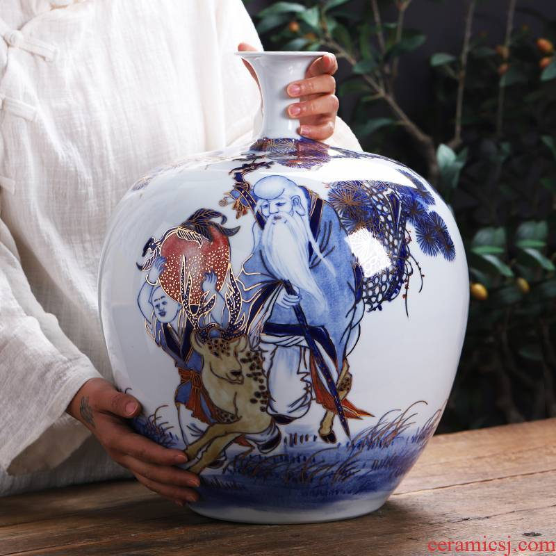 Jingdezhen ceramics hand - made paint pomegranates of blue and white porcelain bottle large vases, sitting room of Chinese style household decorations furnishing articles