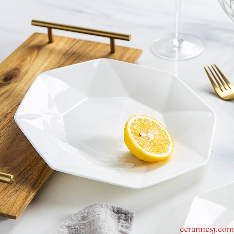 The Home of the steak is ceramic dish flat disc plate plate plate plate creative pure white snack food dish