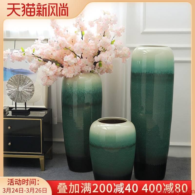 Jingdezhen landing big vase furnishing articles of new Chinese style living room light flower arranging ceramics key-2 luxury villa hotel soft decoration