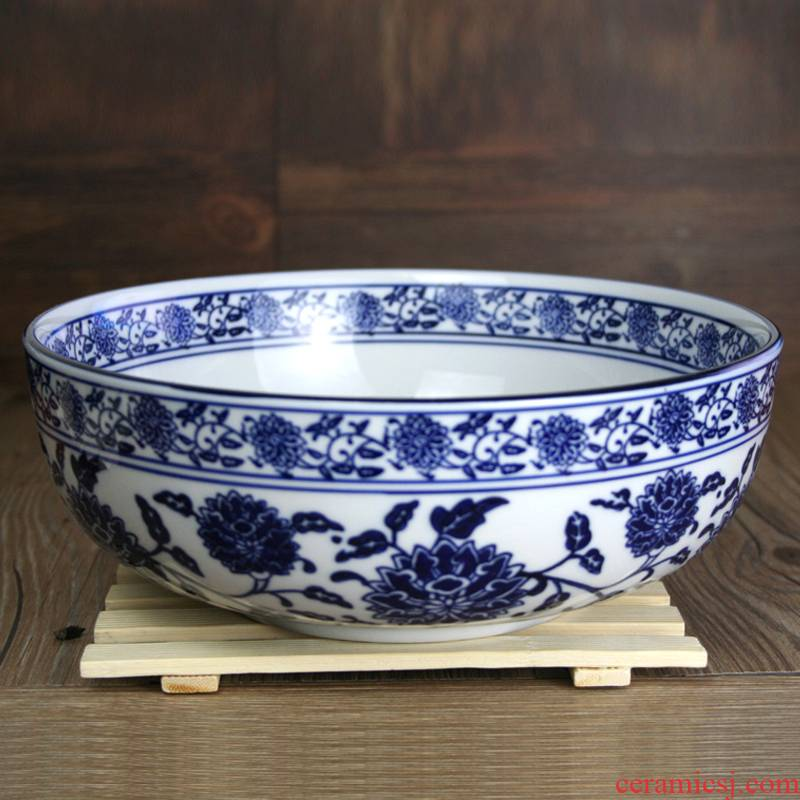 Hotel large soup bowl of blue and white porcelain tableware ceramics home large bowl of boiled fish pickled fish bathtub cubicle basin rainbow such as bowl ltd.