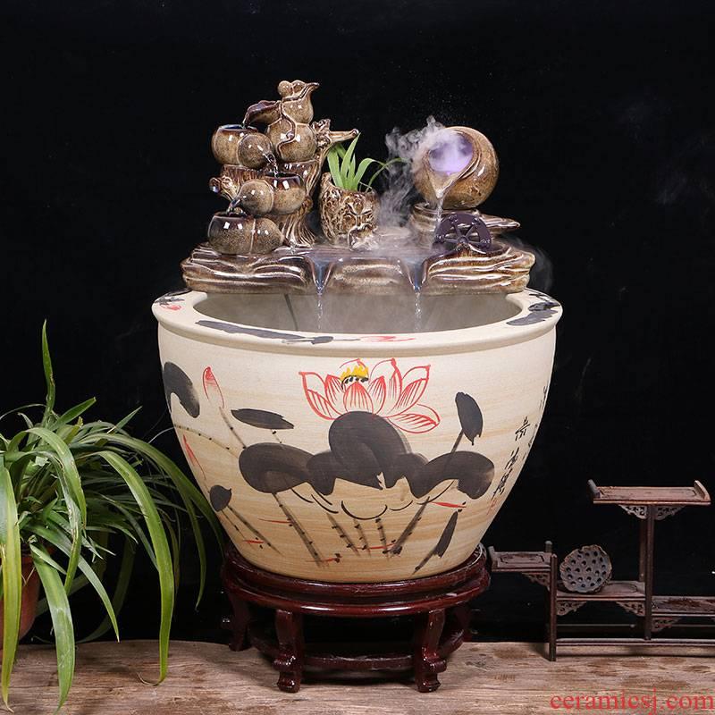 Jingdezhen ceramic aquarium large circulation water fountain creative humidifier furnishing articles sitting room adornment