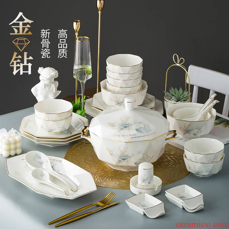 Light dishes suit I and contracted household jingdezhen high - grade up phnom penh key-2 luxury eat rice bowl European composite ceramic tableware