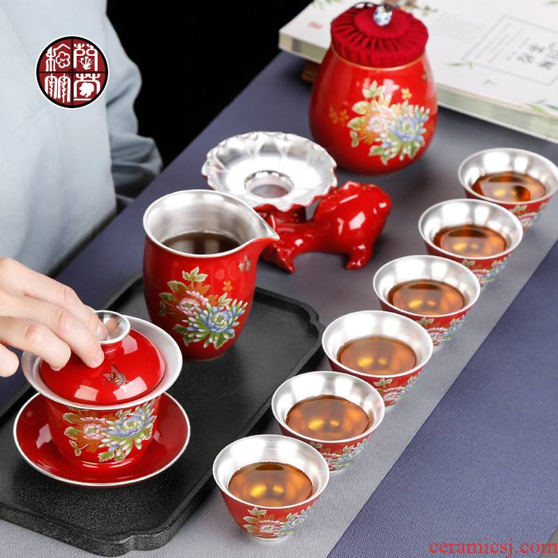 Chinese red porcelain peony kung fu tea set red wedding festival ceramic ji red coppering. As silver wedding gift packages