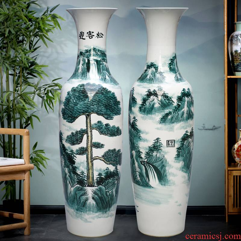 Jingdezhen ceramics hand - made guest - the greeting pine of large vases, sitting room of Chinese style household furnishing articles hotel opening gifts