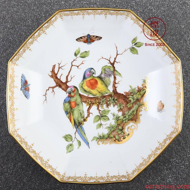 German mason mason meisen porcelain works limited new color painting birds anise porcelain plate