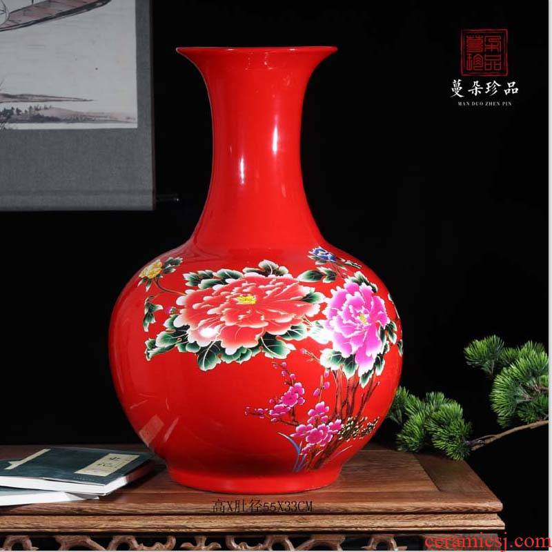 Jingdezhen red riches and honor peony demand flower porcelain vases to admire the celestial bottle vase 50 to 60 cm tall vases