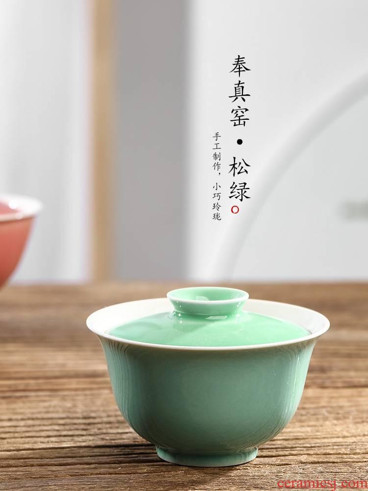 Jingdezhen in true up with pure manual tea tureen hot kunfu tea bowl is not a single color glaze ceramic tea