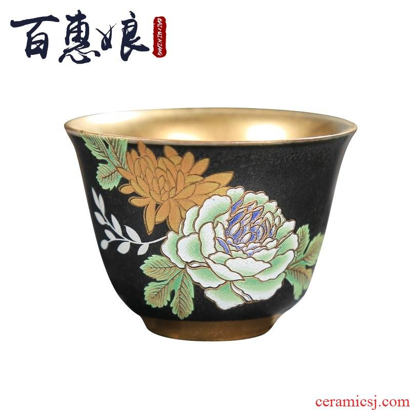 (niang ceramic gold cup their hands to spend gold master cup of tea light cup coppering. As silver sample tea cup by hand work