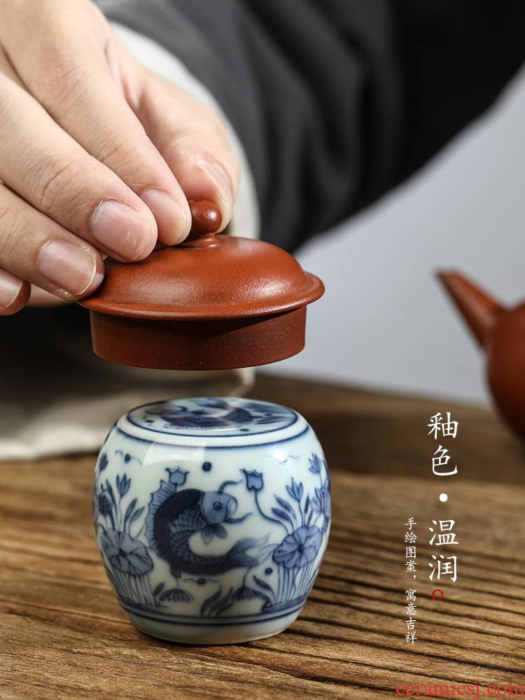 Jingdezhen blue and white cover pure manual hand - made ceramic fish buy cover supporting Japanese bound branch lotus are it cover cup mat tea sets