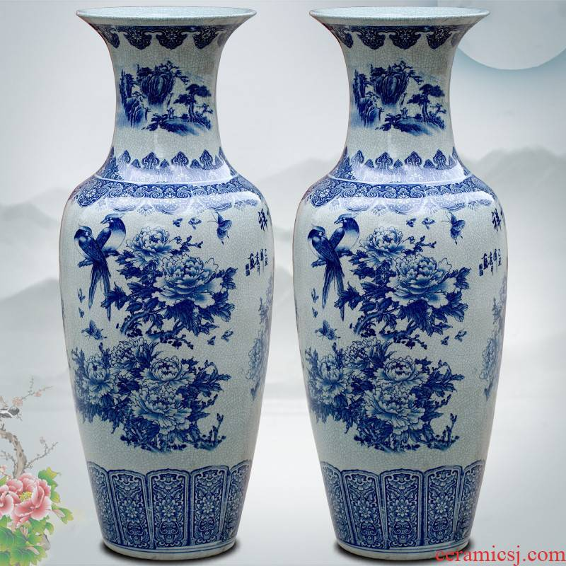 Blue and white porcelain of jingdezhen ceramics archaize on crackle landscape painting of large vase hotel furnishing articles in the living room