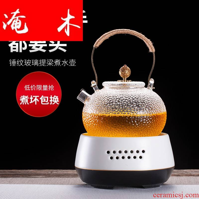 Flooded wooden Japanese black tea the pot of tea, the electric hammer heat - resistant glass TaoLu cook mercifully tea kettle household whole