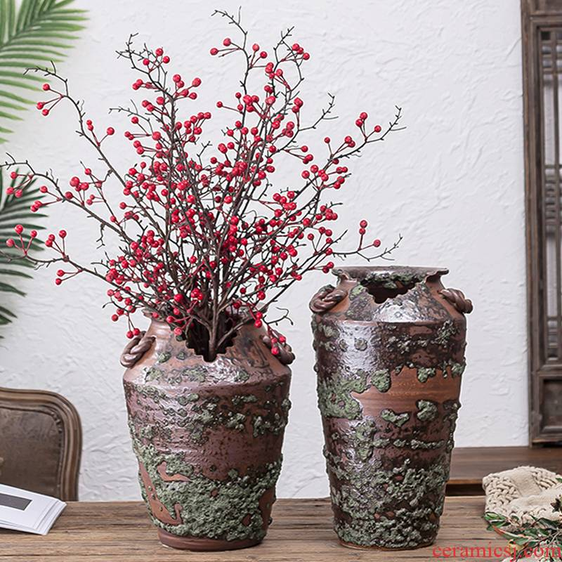 Coarse pottery jingdezhen restoring ancient ways between indoor and is suing example of large vase soil pottery vases, flower arrangement, adornment is placed
