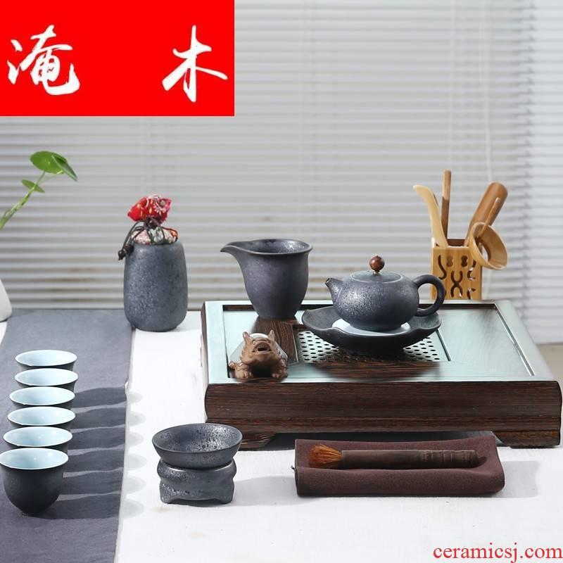 Flooded bamboo four chicken wings wood) ceramic tea set tea tray tea rust glaze of a complete set of kung fu tea set