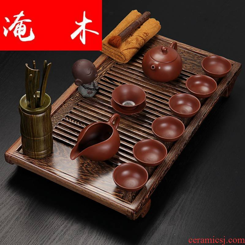 Flooded wenge wood tea tray was violet arenaceous household utensils and exquisite kung fu suit real wood of a complete set of small tea tea