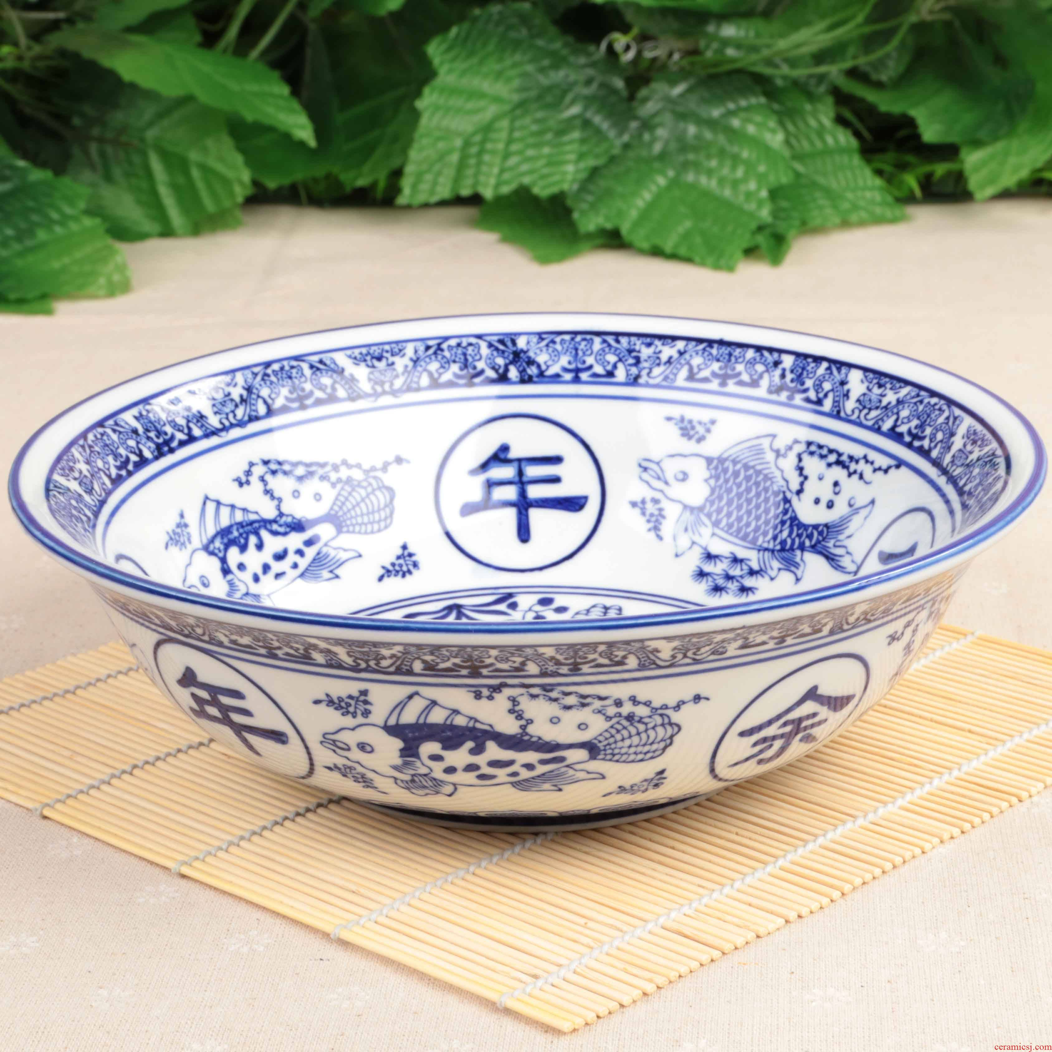 Blue and white ceramic packages mailed excessive penetration large bowl of boiled fish pickled fish meat boiled fish bowl bowl bathtub cubicle poon choi large bowl