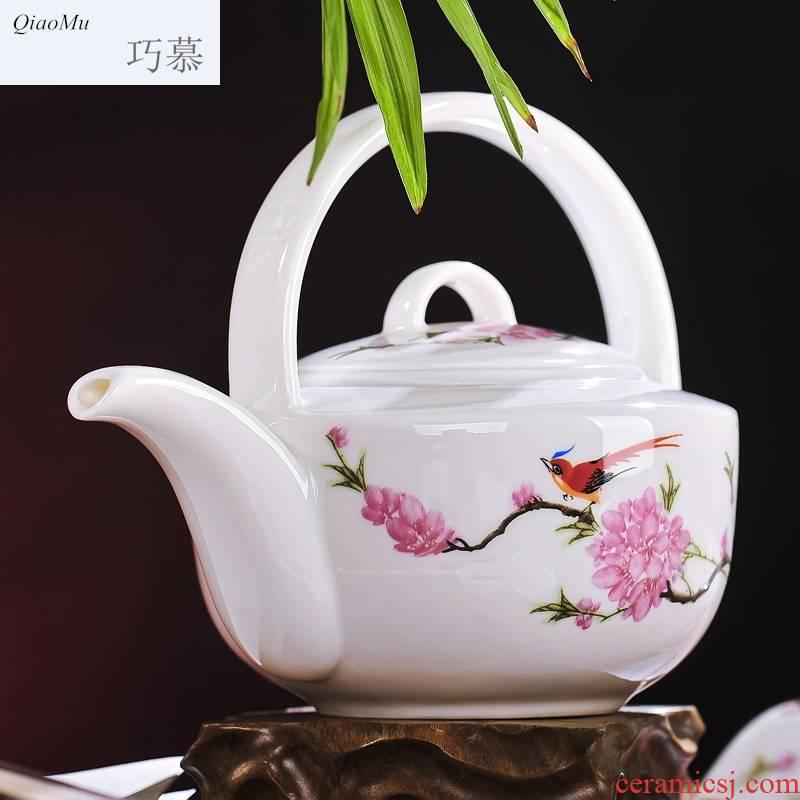 Qiao mu jingdezhen ceramics 8 head double tea set peach blossom put with cover new water in the teapot