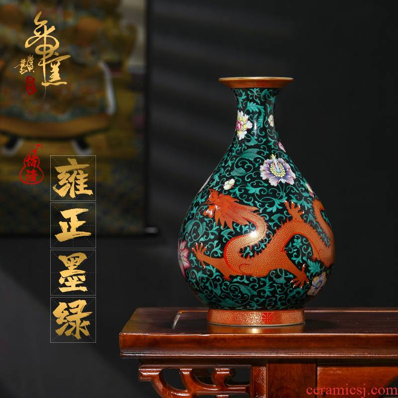 Treasure in jingdezhen heavy hand - made blackish green dragon emperor up okho spring bottle of rich ancient frame decorative pottery and porcelain vase