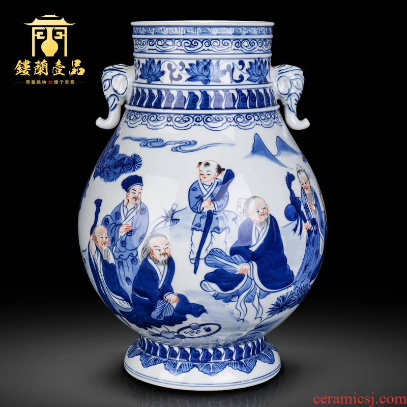 Jingdezhen ceramics antique flower arrangement of blue and white porcelain vase of new Chinese style household living room TV cabinet collection furnishing articles