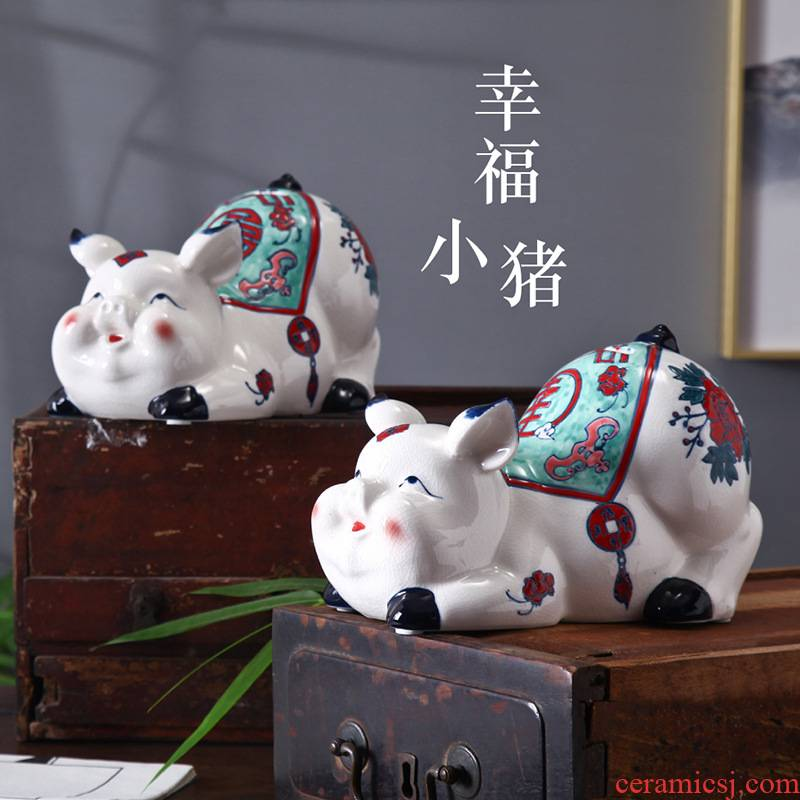 The pig can save The children 's adult in household savings money piggy pig household act The role ofing is tasted furnishing articles ceramic pig