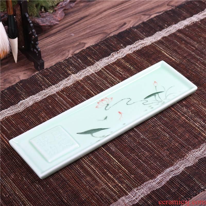 Qiao mu QGZ household kongfu tea accessories small ceramic tea tray tea set tea pot bearing retainer plate saucer dry terms