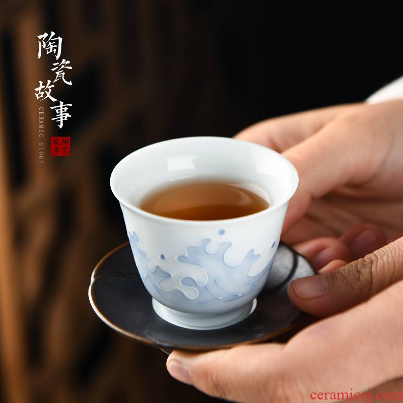Members of the white porcelain teacup ceramic sample tea cup kung fu tea set household small waves fragrance - smelling cup single cup of tea