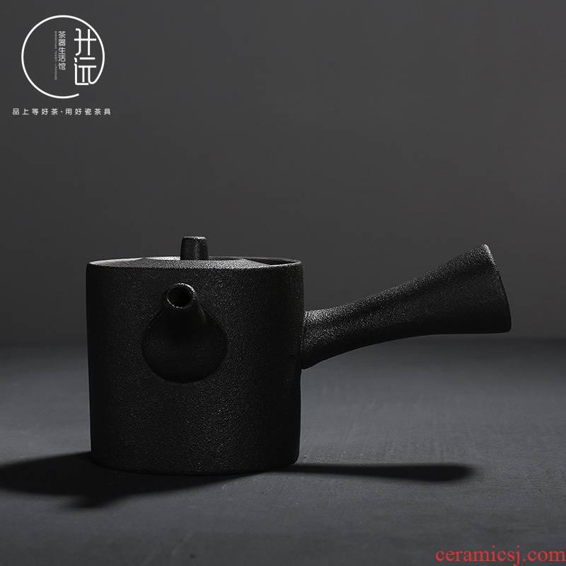 Coarse pottery side put the pot of black pottery Japanese antique tea ware ceramic kung fu tea set item home tea boutique