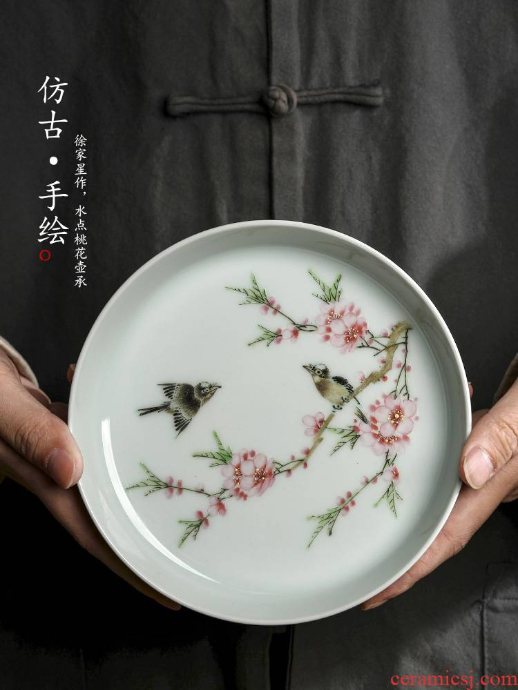 Jingdezhen Xu Jiaxing hand - made water points peach blossom put white porcelain tea pot of 12 water bearing dry mercifully checking tea tray was restoring ancient ways