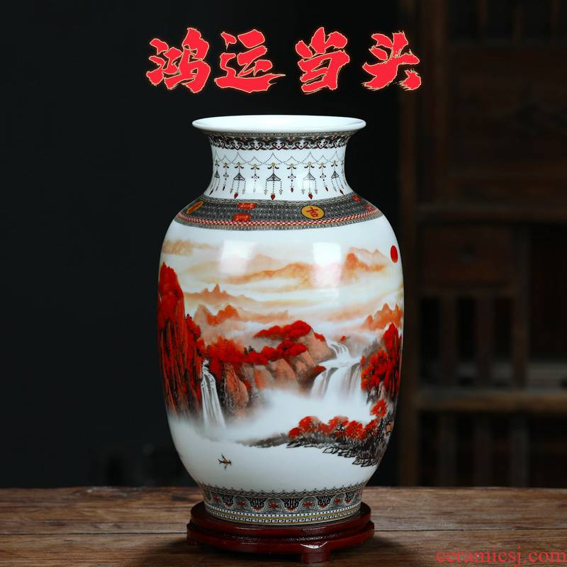 Much luck, jingdezhen ceramics flower vase rich ancient frame of Chinese style household adornment handicraft furnishing articles in the living room