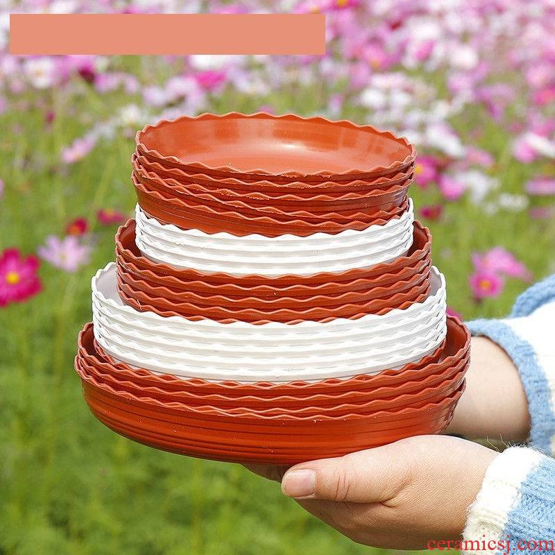 Double color lace thickening resin tray plastic flower POTS tap tap water pans mobile base of flowerpot bottom pad