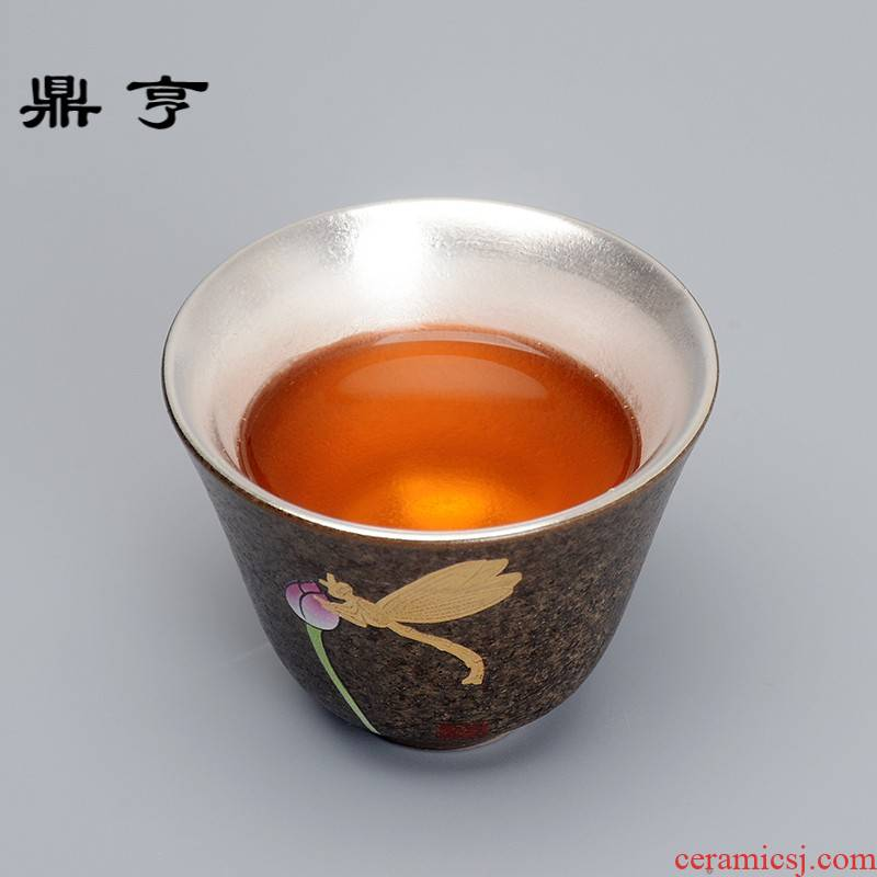 (niang creative coarse pottery checking tasted silver gilding hand - made dragonfly fuels the personal house cup cup master hard