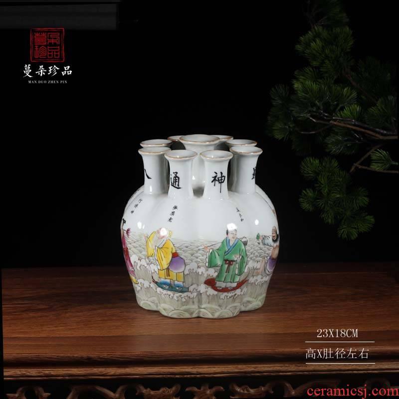 Jingdezhen landscape nine bottles of Jingdezhen hand - made the ensemble character decorative vases, antique vase