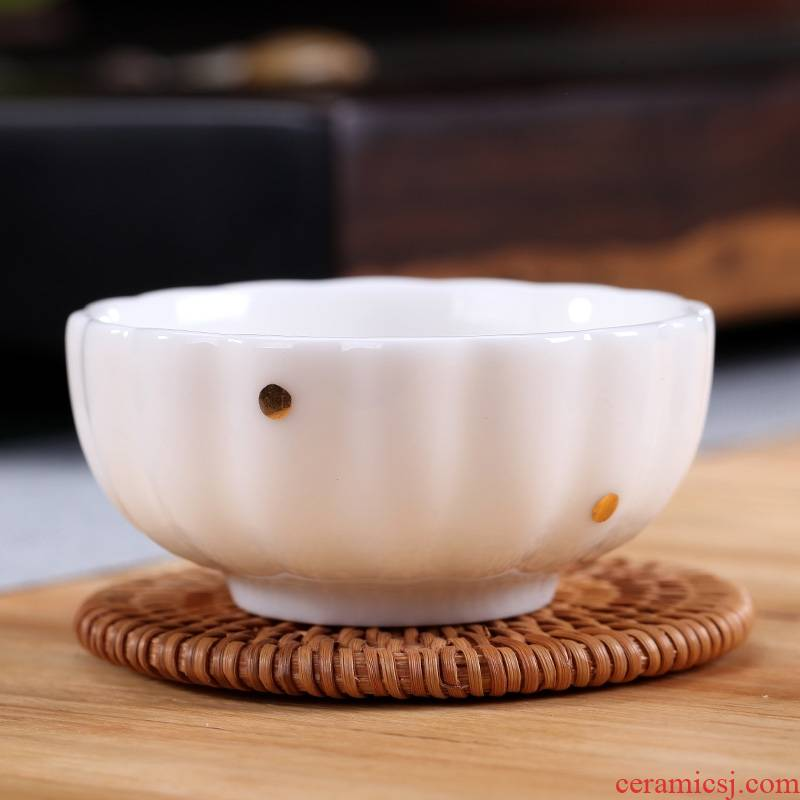 Qiao mu modern white hand paint sample tea cup contracted ceramic cups kung fu tea set personal single stroke