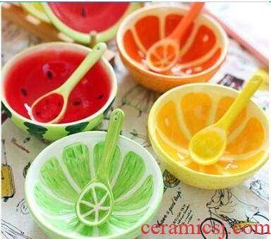 Fruit shape creative express cartoon children rice bowls ceramic tableware watermelon bowl of individual students eat such as always