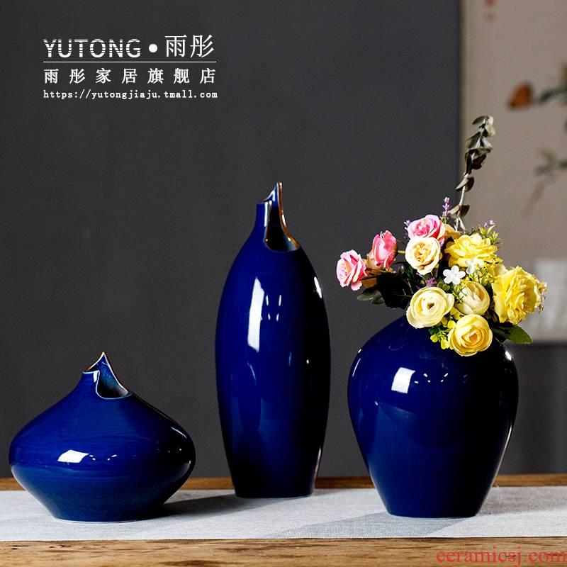 Light rain tong jingdezhen ceramic high temperature ceramic vase vase key-2 luxury hotel wind model between ceramic jewelry sales offices
