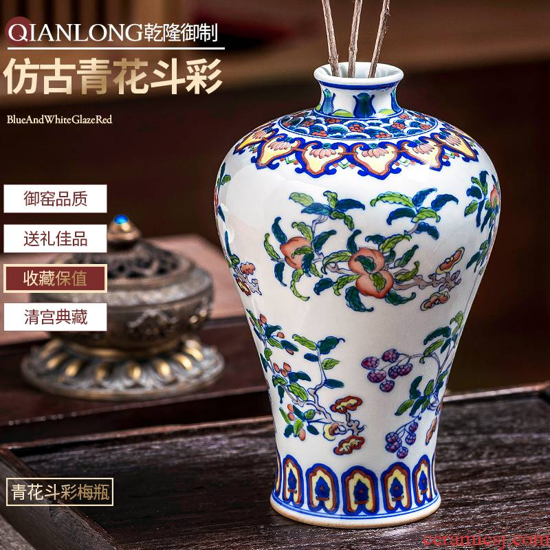 Jingdezhen ceramic vase furnishing articles hand - made rich ancient frame of new Chinese antique blue and white color bucket in the sitting room porch decoration