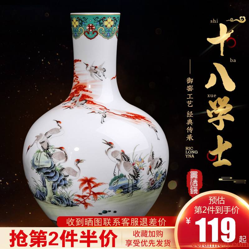 Jingdezhen ceramics colored enamel vase restoring ancient ways furnishing articles of new Chinese style household flower arranging rich ancient frame sitting room adornment