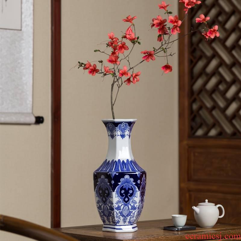 Furnishing articles Furnishing articles blue and white porcelain vase flower decoration ceramics handicraft household storage tank new Chinese porcelain vase