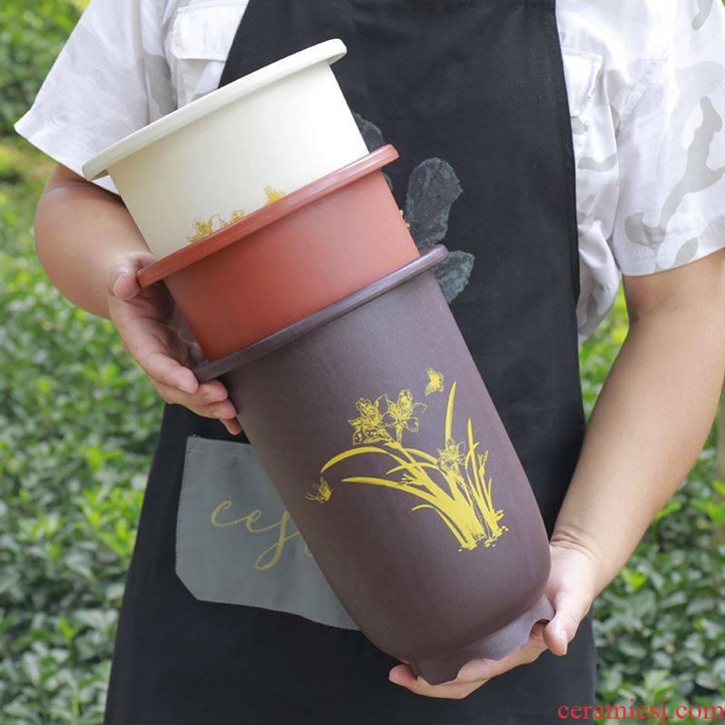 Porous basin purple sand flowerpot large caliber orchid orchid fleshy clivia potted imitation ceramic plastic flower POTS