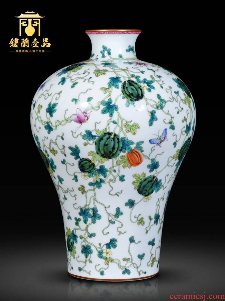 Jingdezhen ceramics imitation the qing yongzheng enamel paint vines flower vase furnishing articles sitting room home decor collection