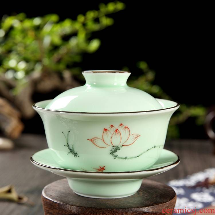 Qiao mu QGZ household kung fu tea set ceramic longquan celadon hand - made tureen tea cup bowl bowl three cups