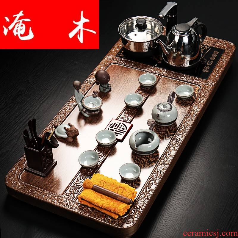 Flooded the whole piece of chicken wings wood, wood tea tray with violet arenaceous elder brother up of a complete set of kung fu tea set four unity induction cooker