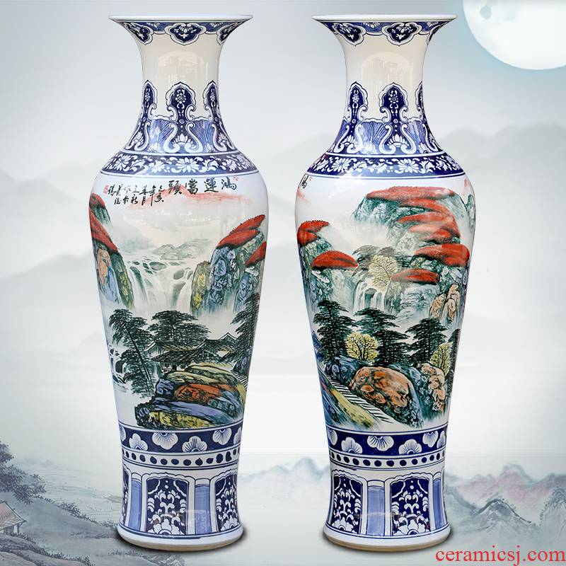 Jingdezhen ceramic hand - made luck sitting room of large vase household study landscape painting place adorn article