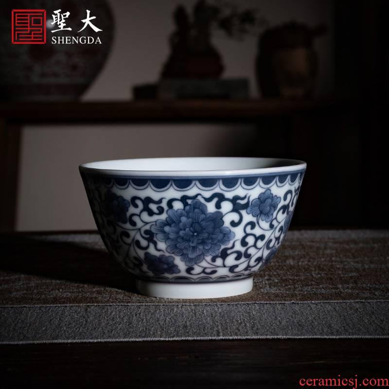 Holy big ceramic kung fu tea cup pure manual hand - made jingdezhen blue and white Wan Shouteng masters cup tea tea cups