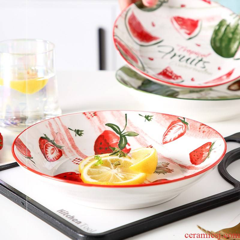 Plate 7 8 inches express colorful fruit web celebrity ceramic household creative dish steamed egg circular FanPan deep dish dish